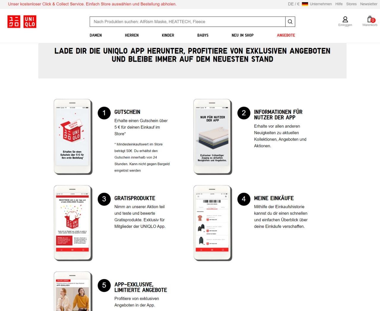 Die App von Uniqlo bietet Rabatte, kostenlose Geschenke und exklusive Angebote