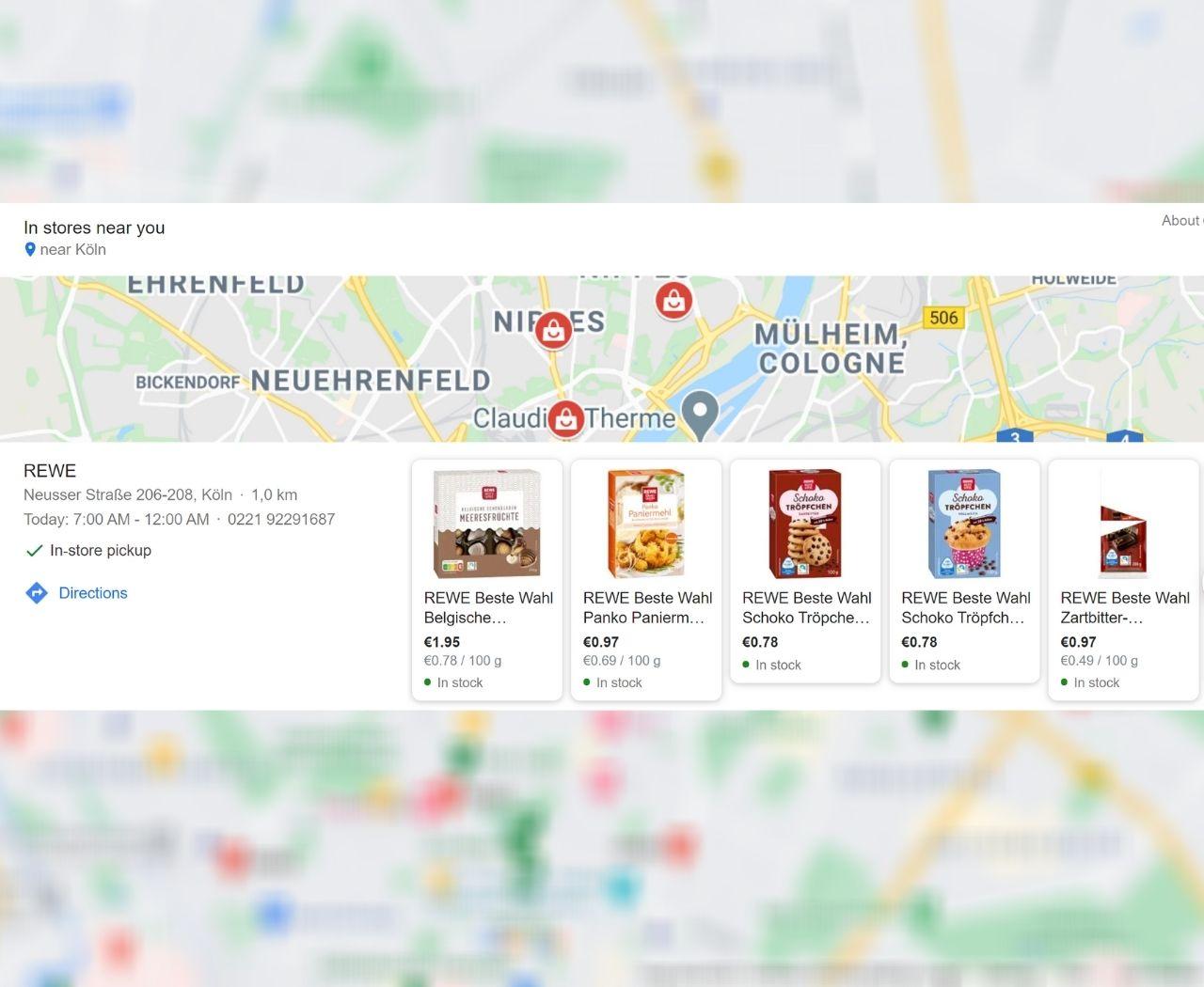 Rewe-Werbung zeigt die lokale Verfügbarkeit des Sortiments
