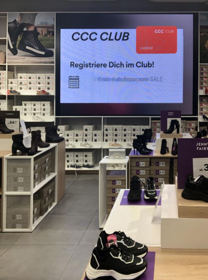 Displaywerbung für Kundenkarte von CCC