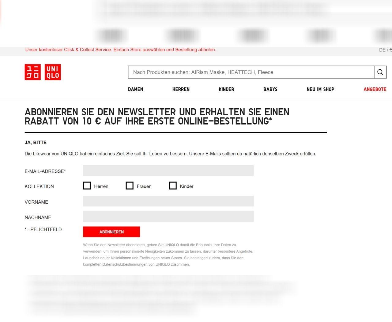 Uniqlo versucht Kunden mit einem Bonus zur Newsletter-Anmeldung zu gewinnen.