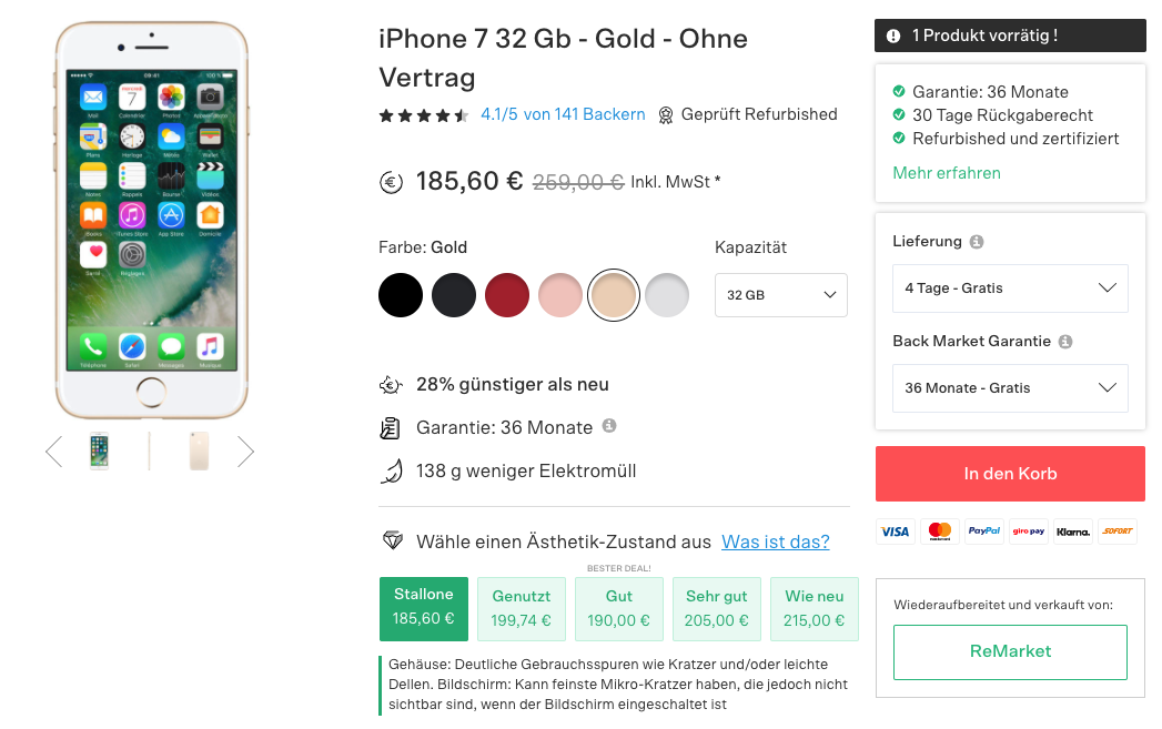 Product page on Back Market for a used iPhone 7