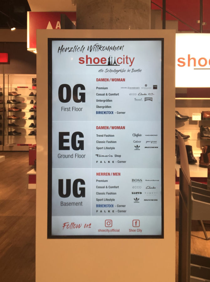 Store Navigation Display von Shoe City