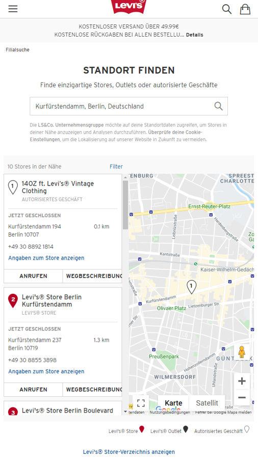 Storefinder von Levi's