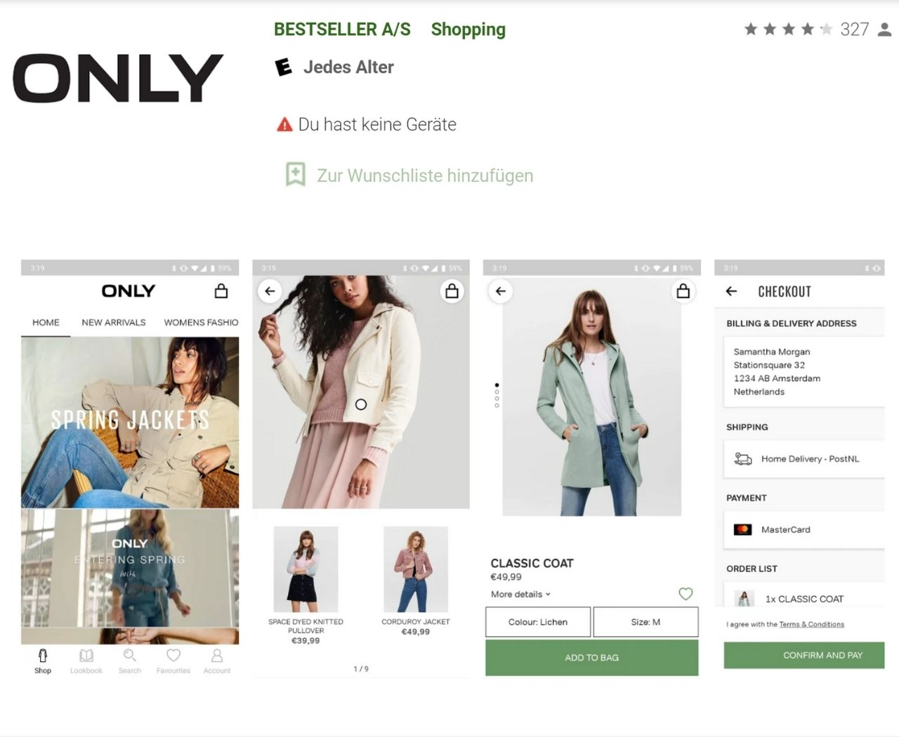 Shopping App von Only im Google Play Store