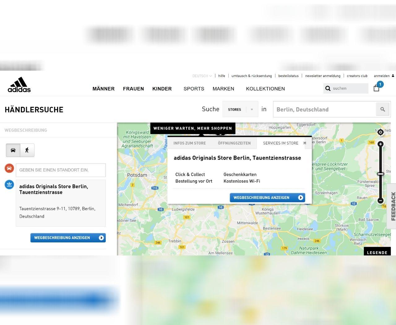 Adidas-Webshop zeigt die nahegelegenen Standorte und verfügbare Services
