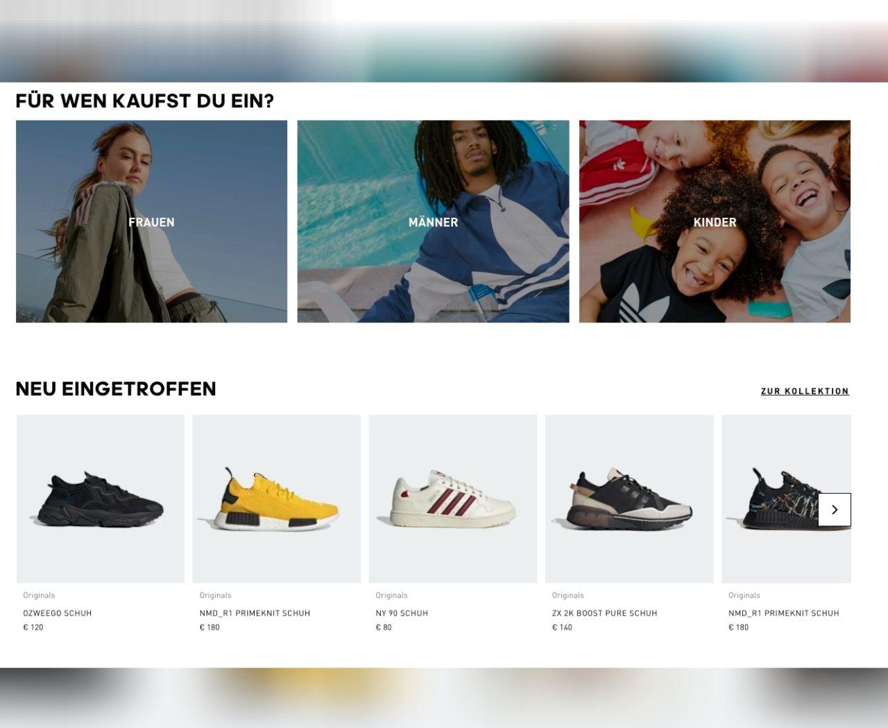 Homepage des Adidas-Webshops