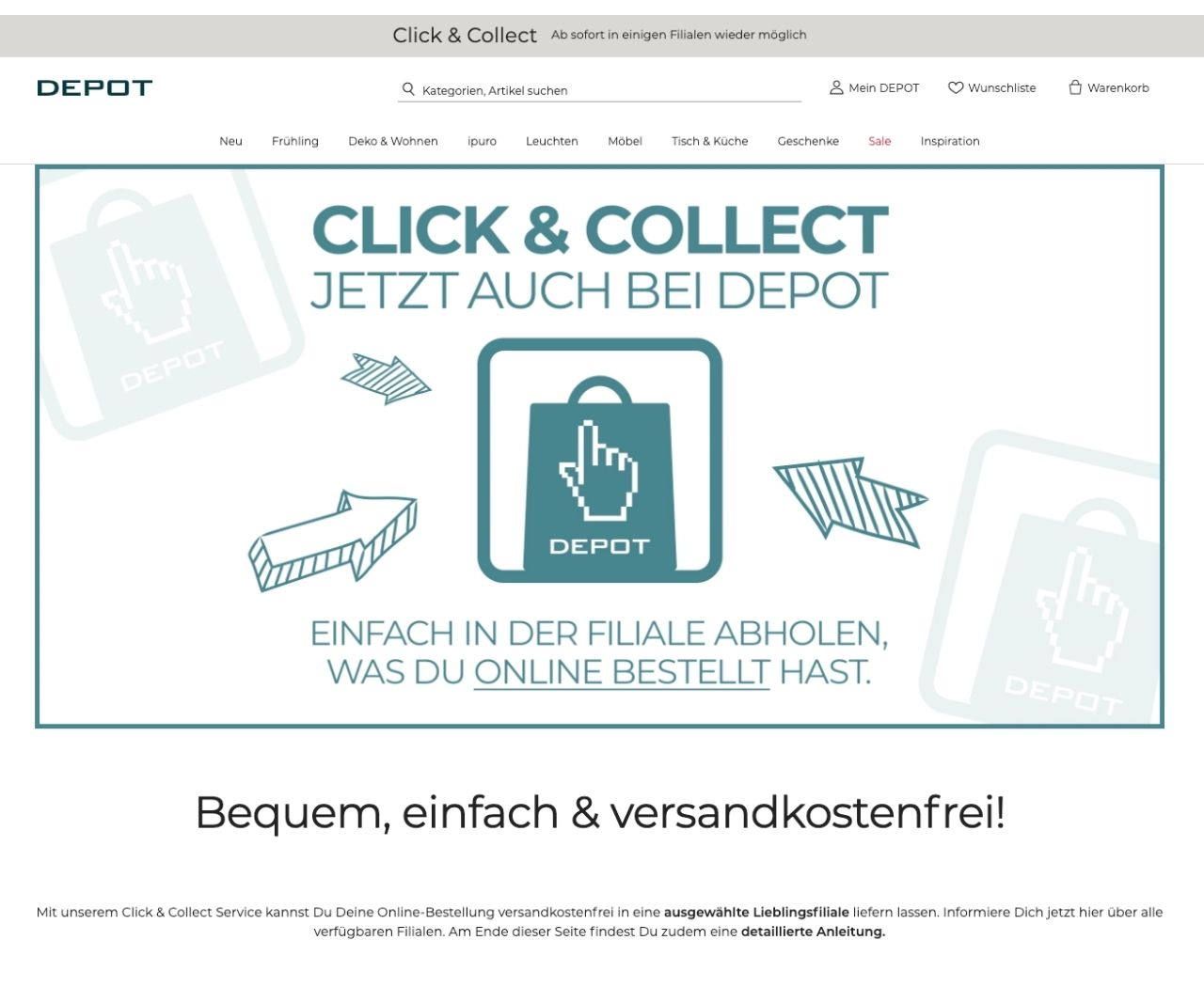 Depot wirbt für Click & Collect auf seiner Webseite
