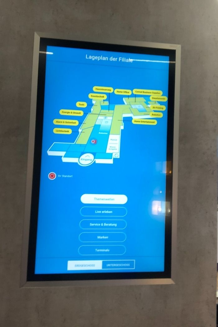 Conrad bietet den Kunden eine interaktive Präsentation zum Etagenplan