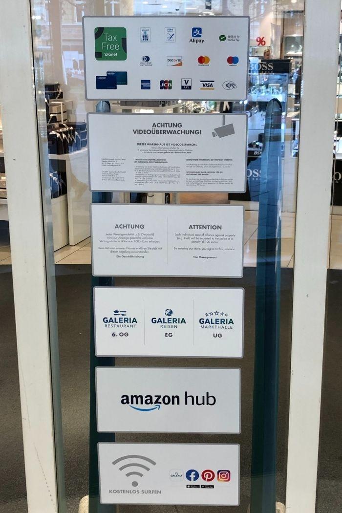 Galeria informiert über multiple Zahlungsoptionen am Eingang