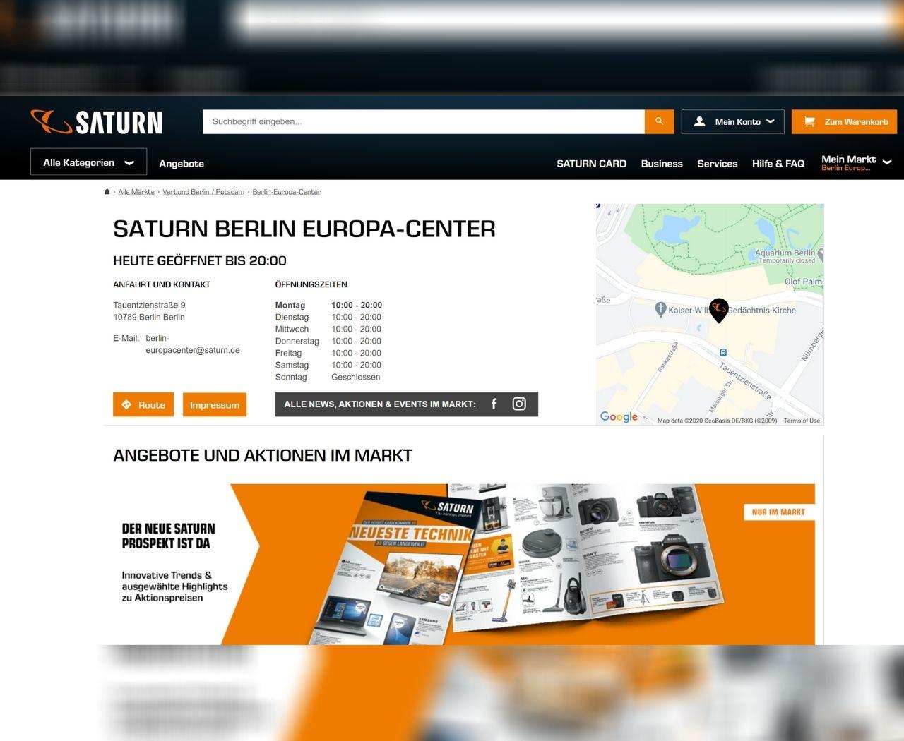 Saturn zeigt Öffnungszeiten, Adresse inkl. Wegbeschreibung.