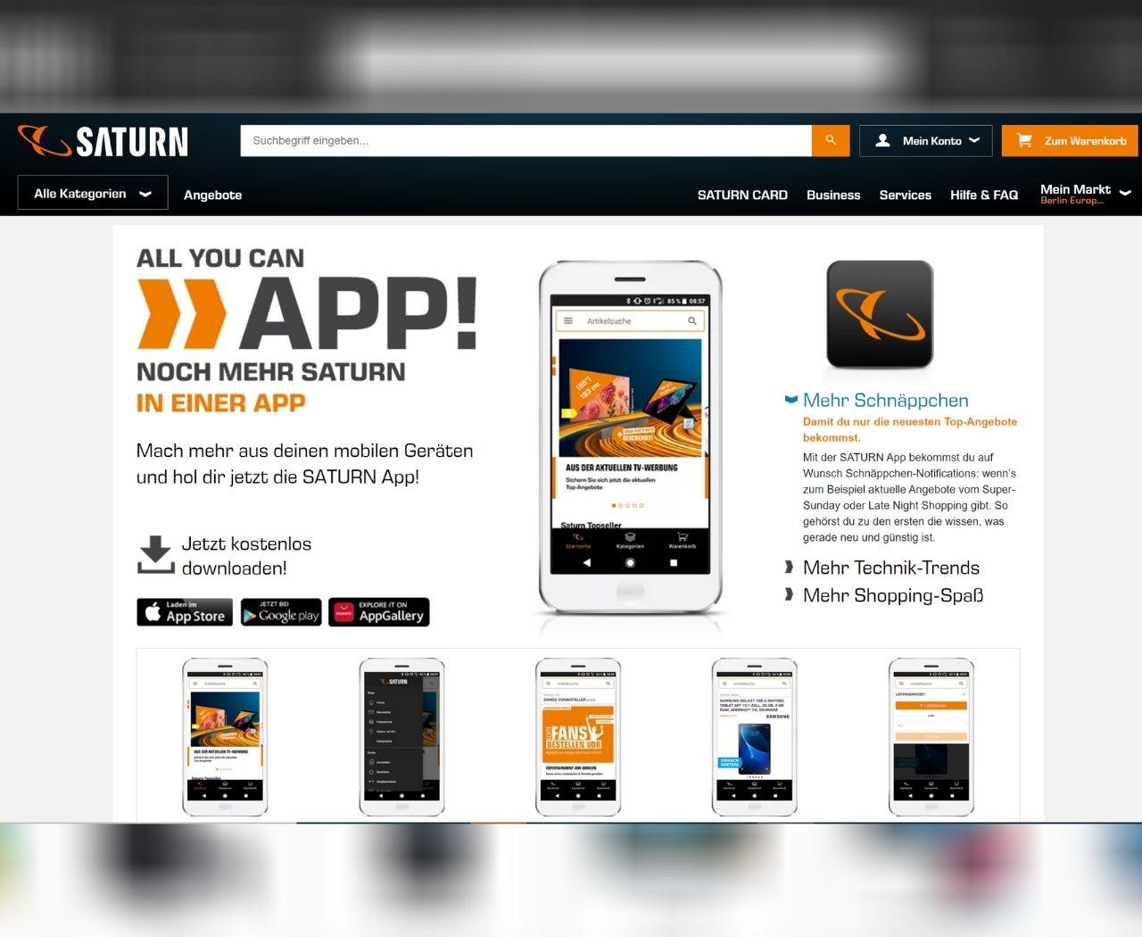 Saturn-Werbung für App und Mobile-Shop