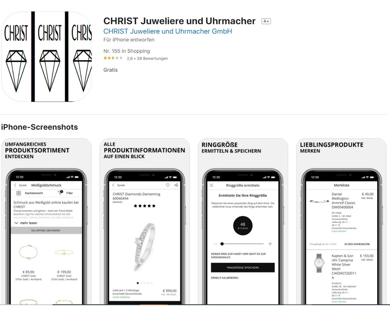 Screen des CHRIST-App-Shops
